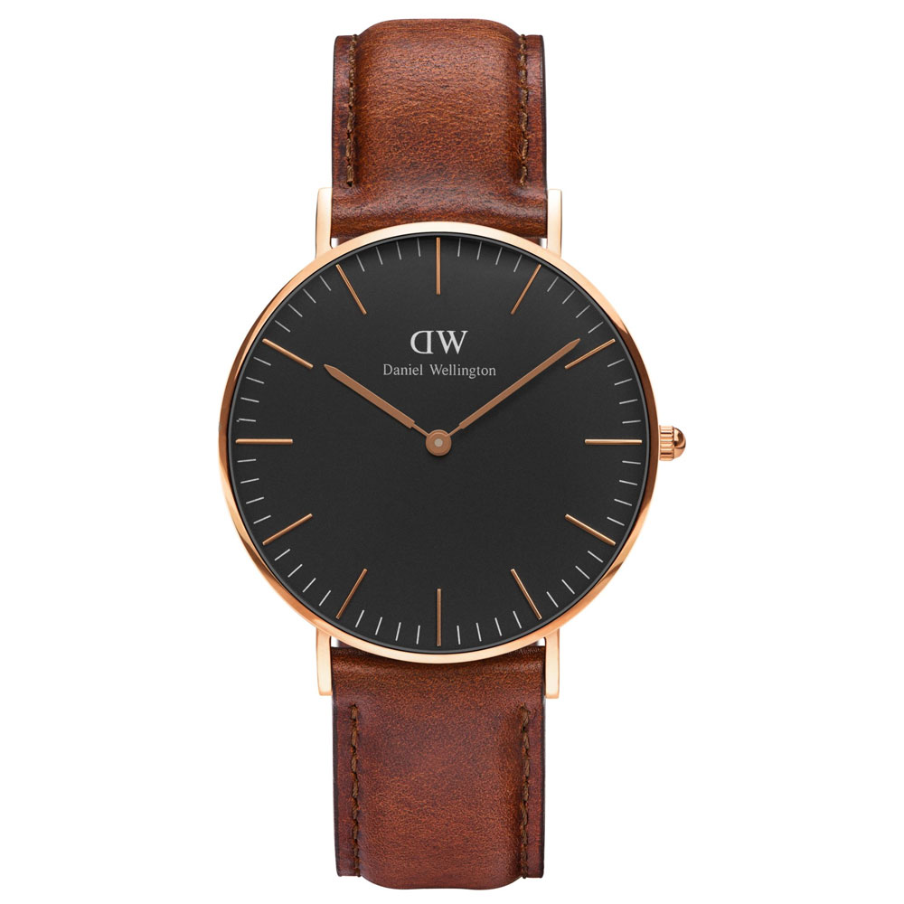 DANIEL WELLINGTON Classic Black St Mawes Rose Gold Brown Leather Strap DW00100136