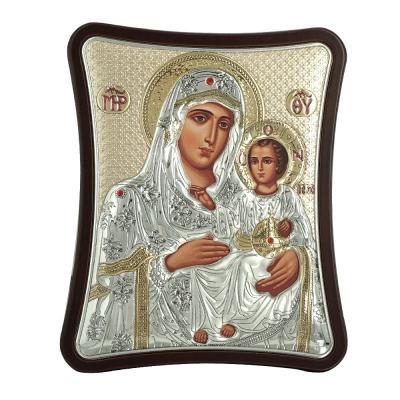 Ασημένια Εικόνα με την Παναγία με Επίχρυσες Λεπτομέρειες σε Καφέ Ξύλο ΜΑ/Ε1402/2XG