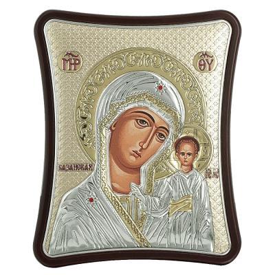 Ασημένια Εικόνα με την Παναγία με Επίχρυσες Λεπτομέρειες σε Καφέ Ξύλο ΜΑ/Ε1406/2ΧG