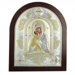 Ασημένια Εικόνα με την Παναγία με Επίχρυσες Λεπτομέρειες σε Καφέ Ξύλο MA/Ε3110ΑΧ