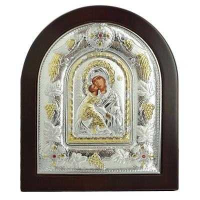 Ασημένια Εικόνα με την Παναγία με Επίχρυσες Λεπτομέρειες σε Καφέ Ξύλο ΜΑ/Ε3110 DX