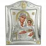 Ασημένια Εικόνα με την Παναγία με Επίχρυσες Λεπτομέρειες σε Καφέ Ξύλο ΜΑ/Ε3402/1Χ