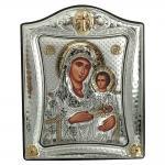 Ασημένια Εικόνα με την Παναγία με Επίχρυσες Λεπτομέρειες σε Καφέ Ξύλο ΜΑ/Ε3402/3Χ