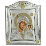 Ασημένια Εικόνα με την Παναγία με Επίχρυσες Λεπτομέρειες σε Καφέ Ξύλο ΜΑ/Ε3406/2Χ