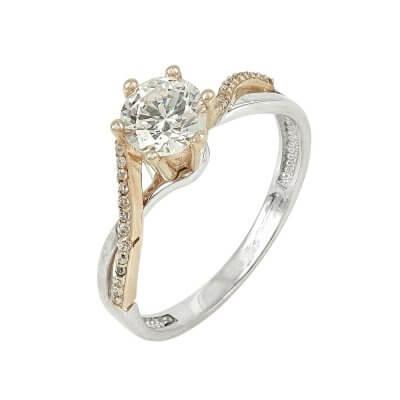 Δίχρωμο Χρυσό Μονόπετρο Δαχτυλίδι Κ14 DX83109
