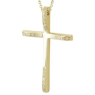 Σταυρός Βάπτισης Κ18 Κίτρινος Χρυσός Γυναικείος με Διαμάντια Brilliant ST2320
