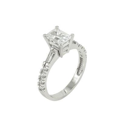 Λευκόχρυσο Μονόπετρο Δαχτυλίδι Κ14 DX101