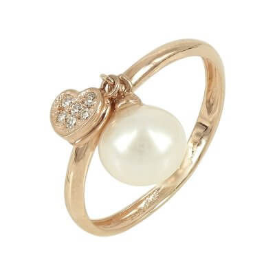 Ροζ Χρυσό Δαχτυλίδι με Μαργαριτάρι Κ14 DX84083