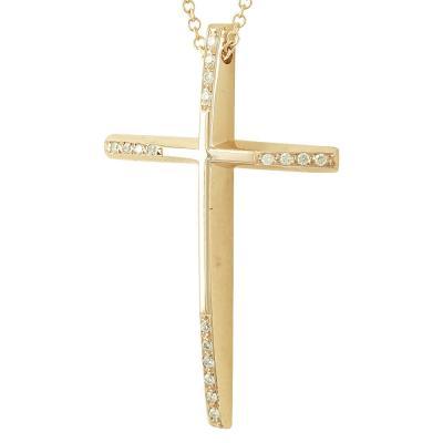 Σταυρός Βάπτισης Κ18 Ροζ Χρυσός Γυναικείος με Διαμάντια Brilliant ST2319