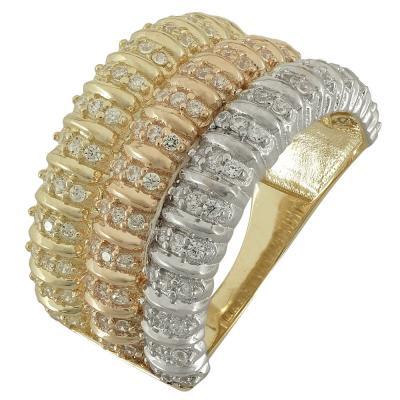 Τρίχρωμο Χρυσό Δαχτυλίδι Μισόβερο Κ14 DX86034