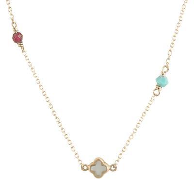 Ροζ Χρυσό Κολιέ με Σταυδρουδάκι-Ματάκι-Καρδούλα KL611
