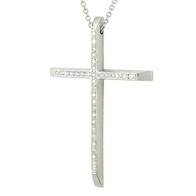 Σταυρός Βάπτισης Κ18 Λευκόχρυσος Γυναικείος με Διαμάντια Brilliant ST2315