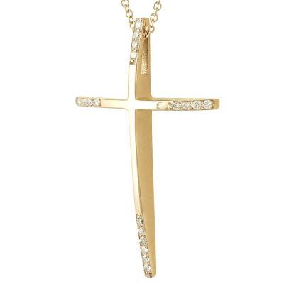 Σταυρός Βάπτισης Κ18 Ροζ Χρυσός Γυναικείος με Διαμάντια Brilliant ST2323