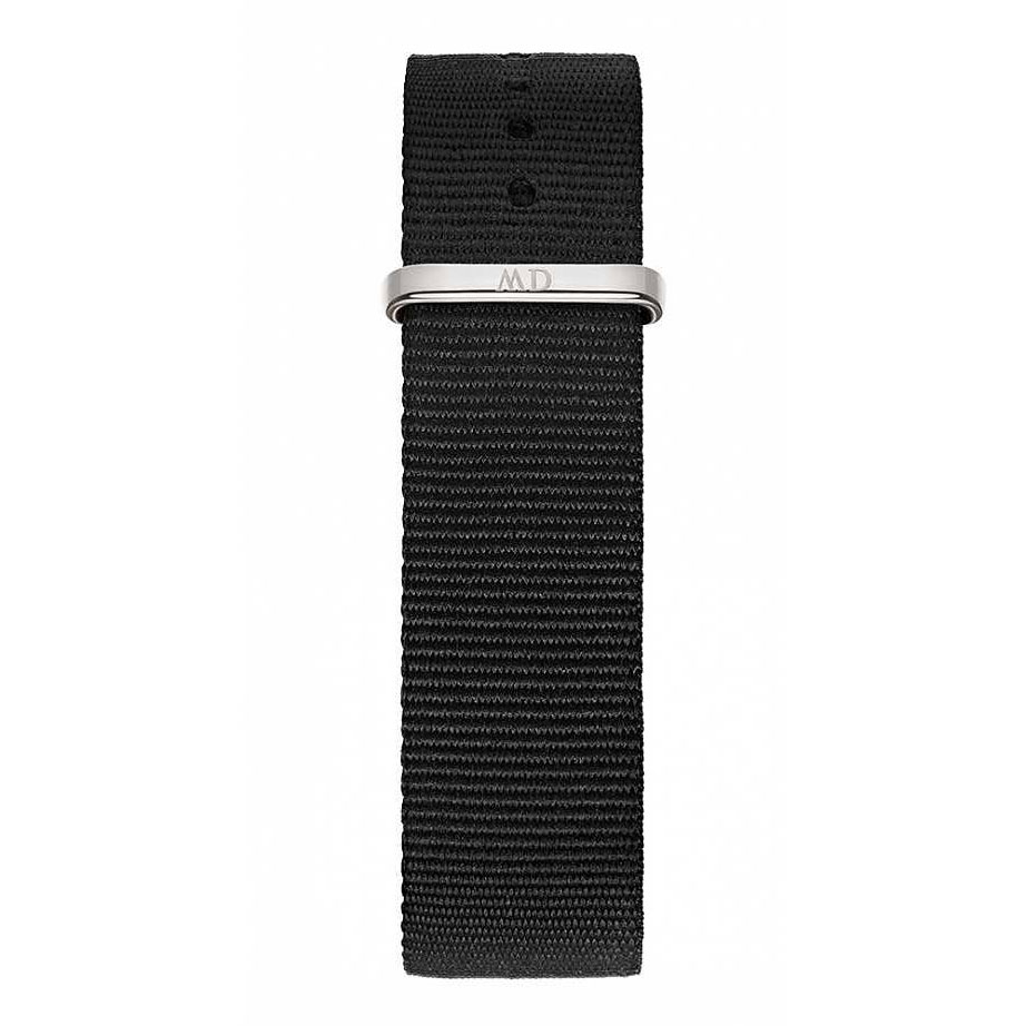 DANIEL WELLINGTON Classic Black Cornwall Fabric Strap White Steel 20mm DW00200136