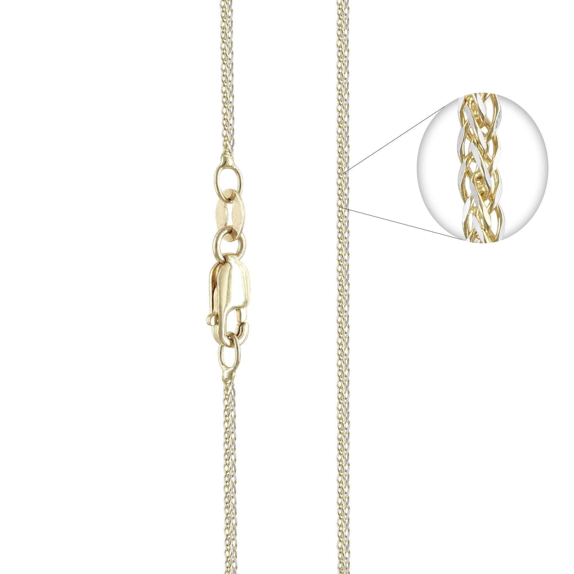 Δίχρωμη Χρυσή Αλυσίδα Σπίγγα #1 AL114 k14 45cm