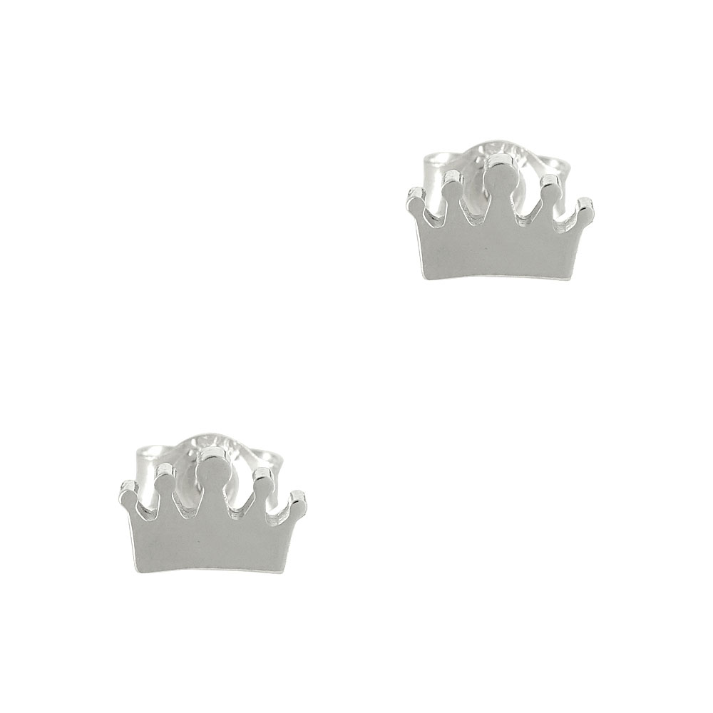 Λευκά Χρυσά Παιδικά Σκουλαρίκια Κορώνες PSK306