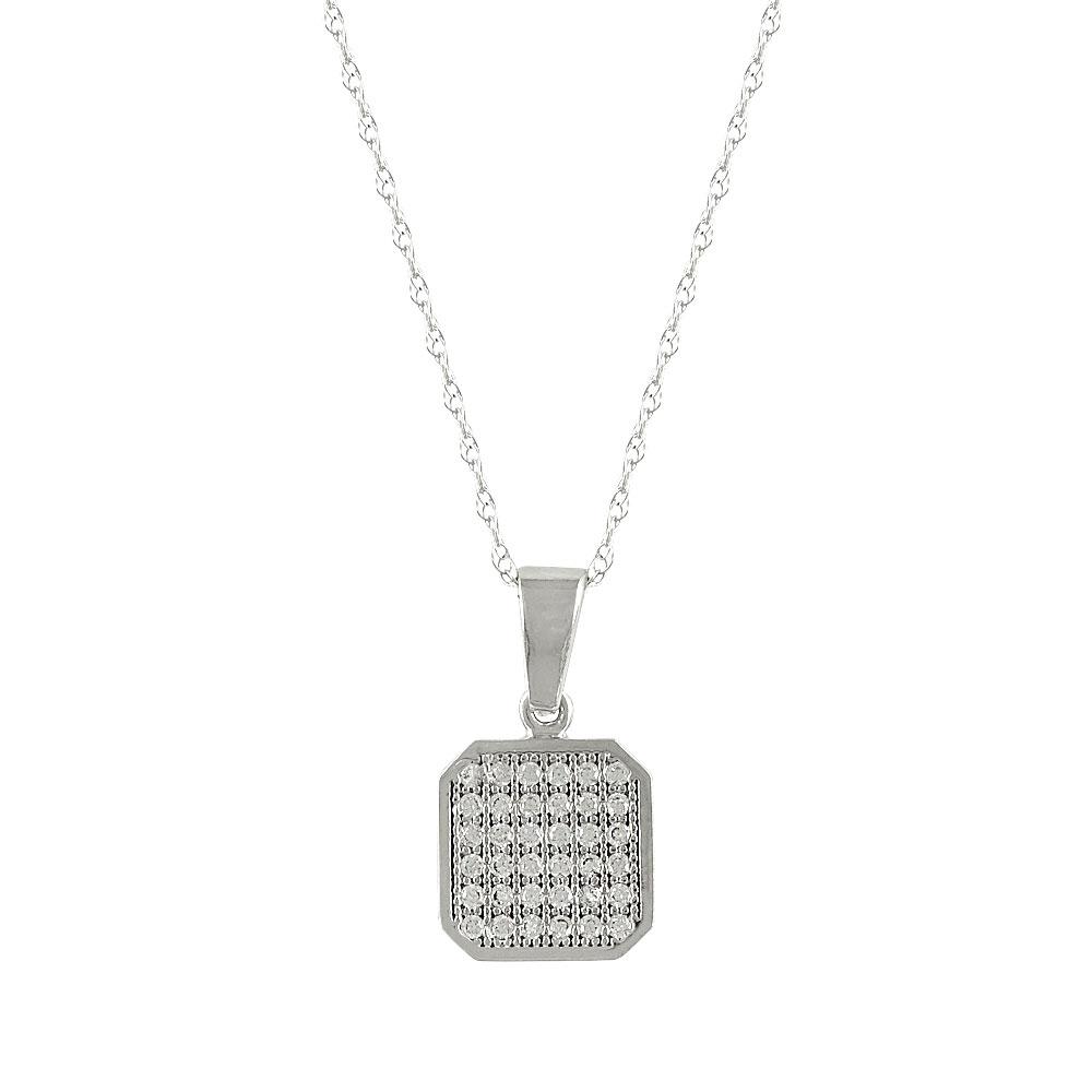 Λευκόχρυσο Μενταγιόν με Πέτρες Κ14 Μ371