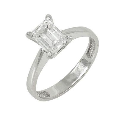 Λευκόχρυσο Μονόπετρο Δαχτυλίδι Κ14 DX606