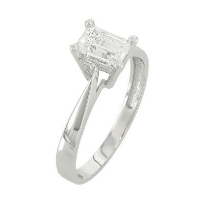 Λευκό Χρυσό Μονόπετρο Δαχτυλίδι Κ14 DX620