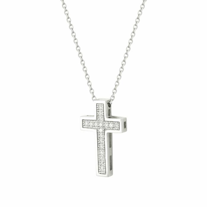 White gold cross pendant k14 stm354 cross pendants gofas k14 stm354 aloadofball Gallery