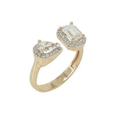 Ροζ Χρυσό Δαχτυλίδι Με Πέτρες Κ14 DX90879
