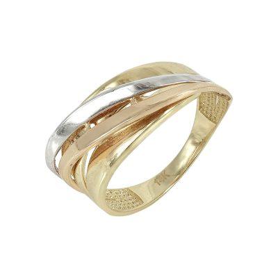 Τρίχρωμο Χρυσό Δαχτυλίδι Κ14 DX614