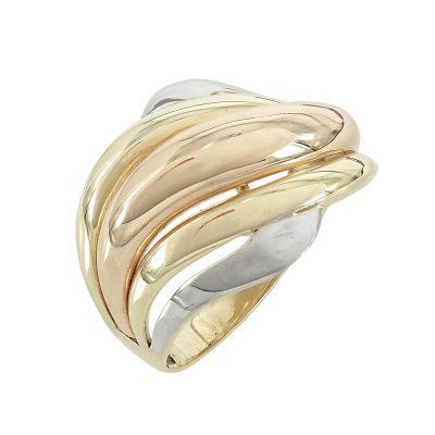 Τρίχρωμο Χρυσό Δαχτυλίδι Κ14 DX621