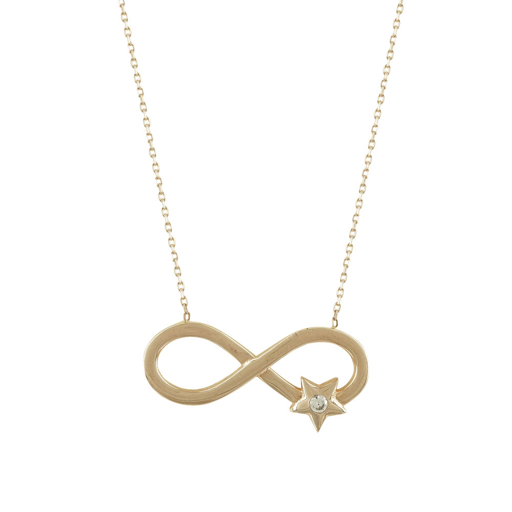 Rose Gold Necklace Infinity Star Κ14 KL619  3ab3324d8e7
