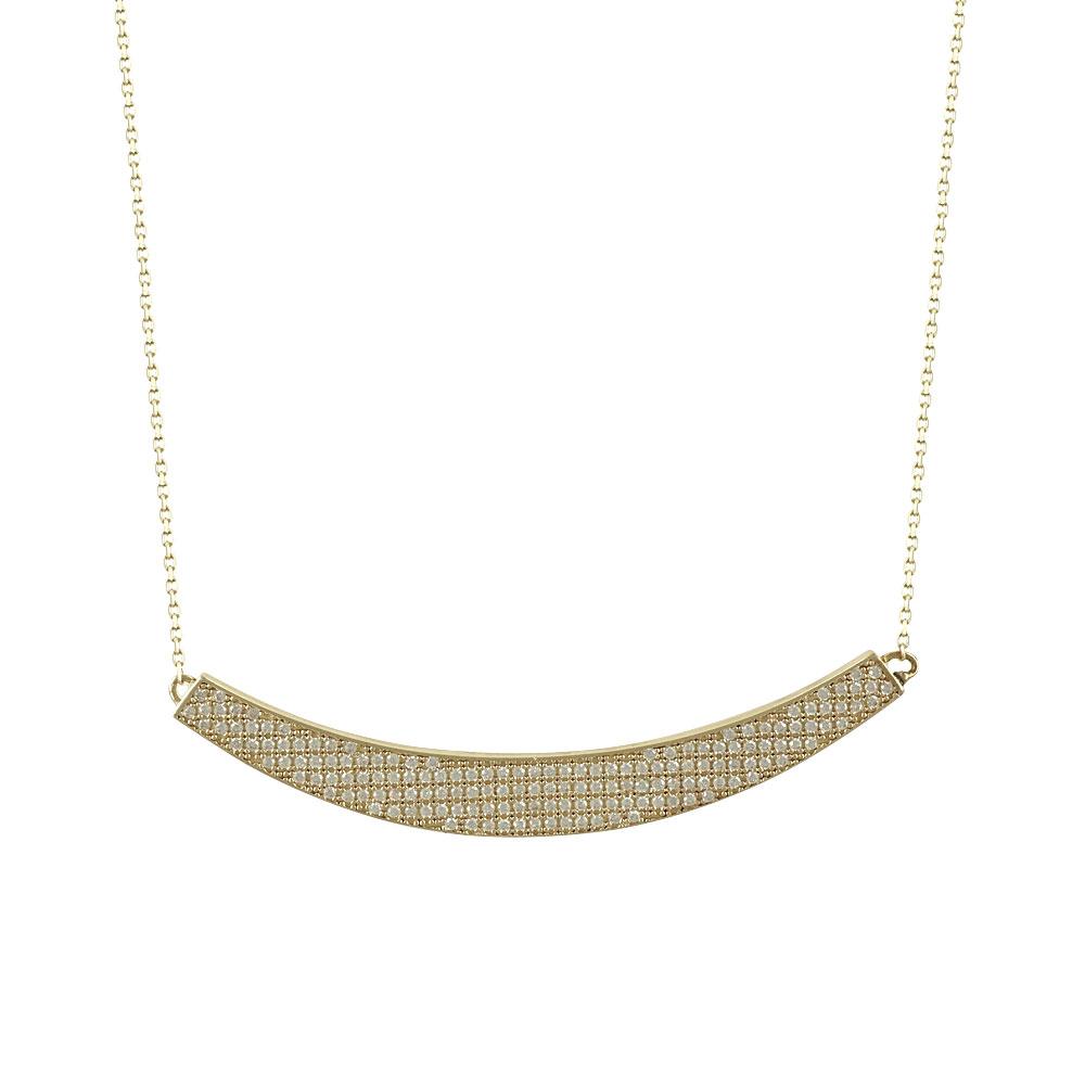 Κίτρινο Χρυσό Κολιέ με Λευκά Ζιργκόν Κ14 KL70480