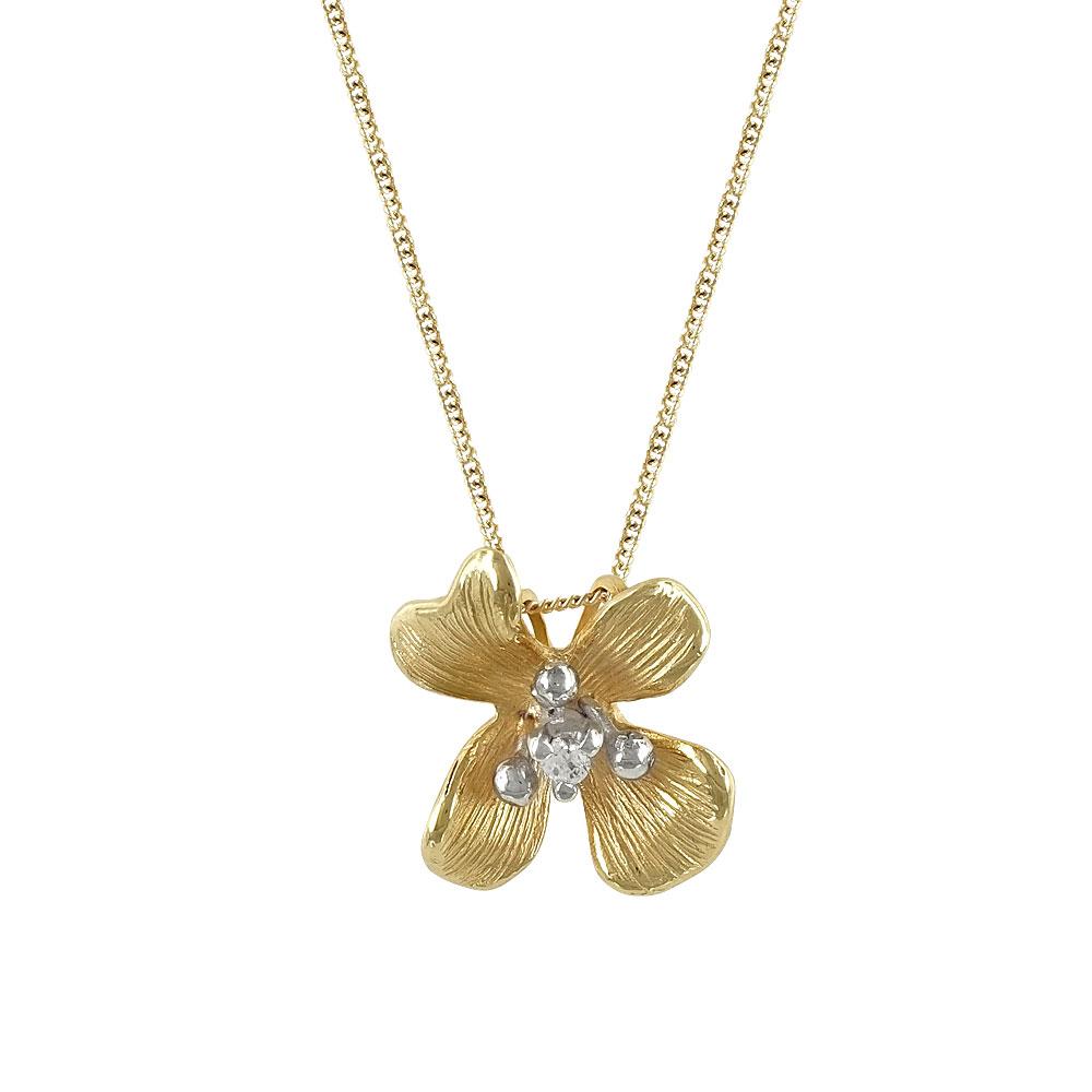 Κίτρινο Χρυσό Μενταγιόν Λουλούδι Κ14 Μ368