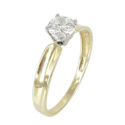 Δίχρωμο Χρυσό Μονόπετρο Δαχτυλίδι Κ14 DX618