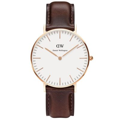 DANIEL WELLINGTON Classic Bristol Brown Leather Strap Rose Gold 36 mm DW00100039