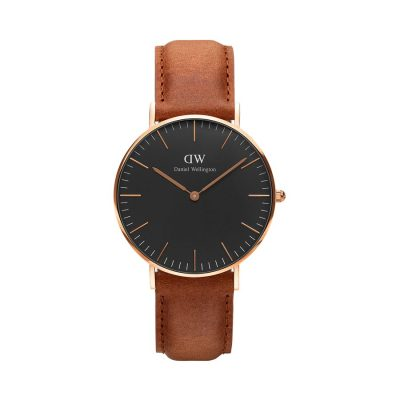 DANIEL WELLINGTON Classic Durham Brown Leather Strap Rose Gold 40 mm DW00100126