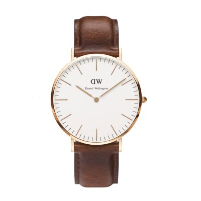 DANIEL WELLINGTON Classic St Mawes Brown Leather Strap Rose Gold 40mm DW00100006