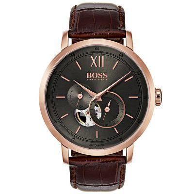 Hugo Boss Automatic Rose Gold Brown Leather Strap 1513506