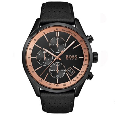 Hugo Boss Grand Prix Black Leather Strap 1513550