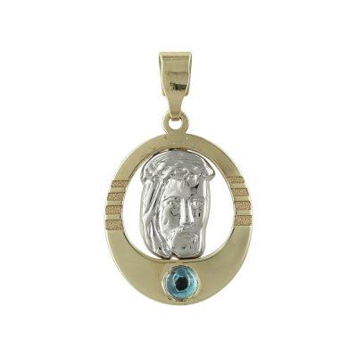 Δίχρωμο Χρυσό Φυλαχτό με τον Χριστούλη K9 PA452