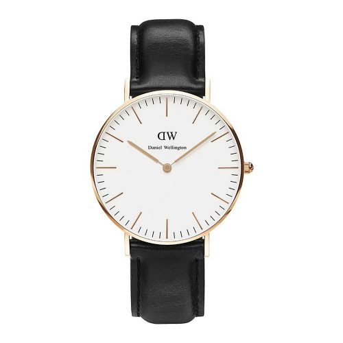 DANIEL WELLINGTON Classic Sheffield Black Leather Strap Rose Gold 36 mm DW00100036