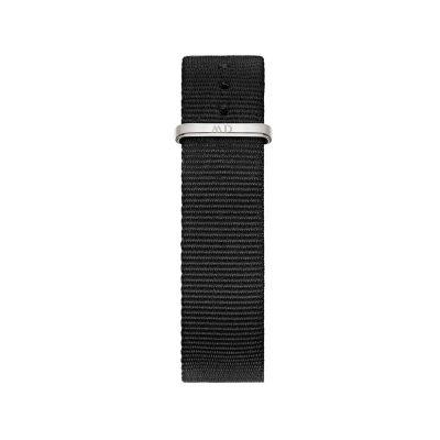 DANIEL WELLINGTON Classic Black Cornwall Fabric Strap Silver DW00200138