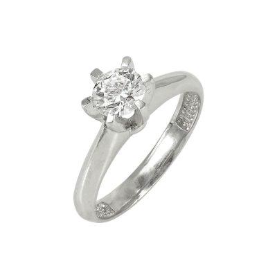 Λευκόχρυσο Μονόπετρο Δαχτυλίδι Κ14 DX611
