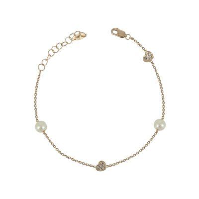 Ροζ Χρυσό Βραχιόλι με Μαργαριτάρια Κ14 VR90751