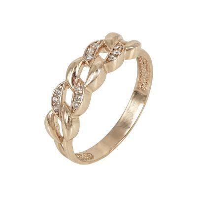 Ροζ Χρυσό Δαχτυλίδι με Πέτρες Κ14 DX617