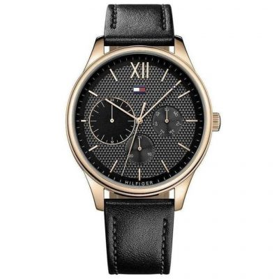 TOMMY HILFIGER Damon Black Leather Strap 1791419