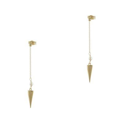 Κίτρινα Χρυσά Κρεμαστά Σκουλαρίκια Κ14 SK715