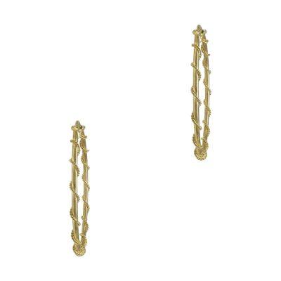Κίτρινα Χρυσά Σκουλαρίκια Κρίκοι Κ14 SK695