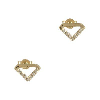 Κίτρινα Χρυσά Σκουλαρίκια Κ14 SK719
