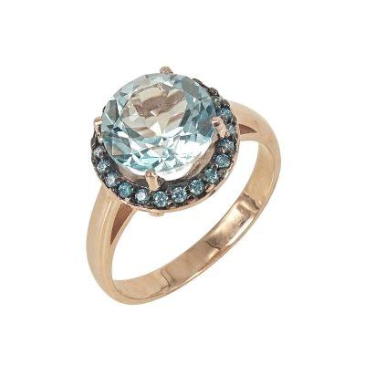 Ροζ Χρυσό Δαχτυλίδι Ροζέτα Κ14 DX627