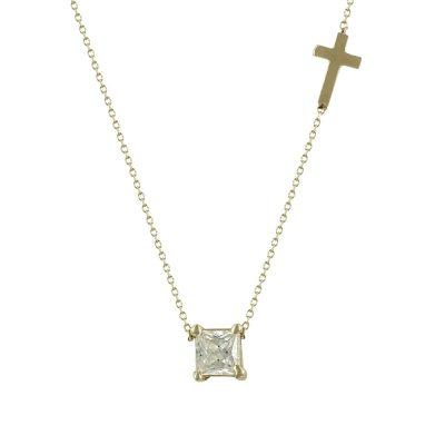 Κίτρινο Χρυσό Κολιέ με Πέτρα και Σταυρουδάκι Κ14 KL616