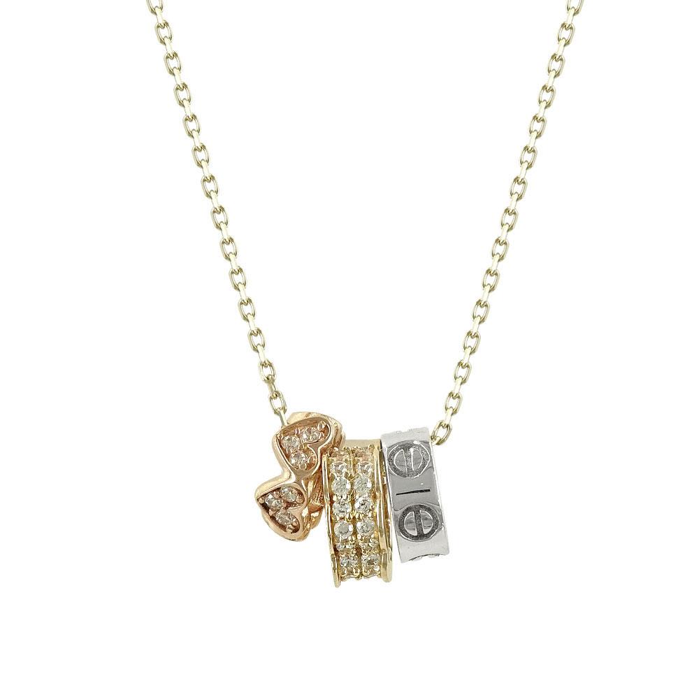 Kίτρινο Χρυσό Μενταγιόν με Τρία Σχεδιάκια Κ14 Μ91005