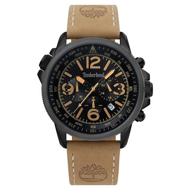 TIMBERLAND Campton II Multifunction Brown Leather Strap 15129JSBU-02